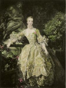 Engraving after Painting of Madame Pompadour by Francois Boucher in the Wallace Collection