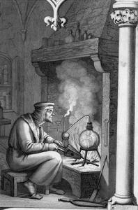 Engraving Depicting Alchemist with Crucible from Goethe's Faust
