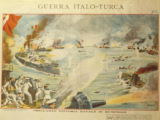 Engraving Depicting the Shelling of Kufindah, Italo Turkish War, Libia, 1911-12--Giclee Print