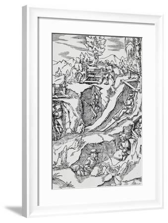 Engraving from De Re Metallica--Framed Giclee Print