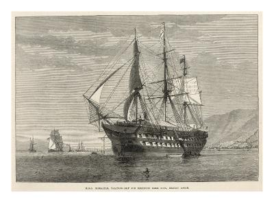 Engraving of H.M.S Gibralter, a Training-Ship for Destitute Irish Boys, Belfast Lough--Giclee Print