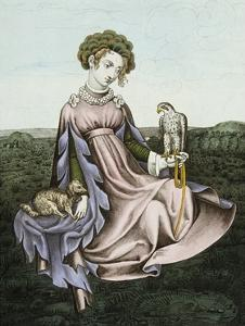 Engraving of Noblewoman with Falcon and Dog