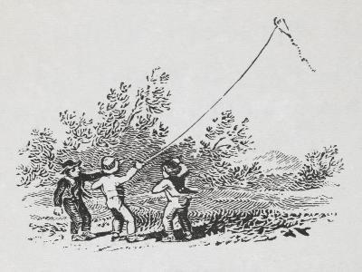 Engraving Of Three Boys Playing With a Kite-Thomas Bewick-Giclee Print