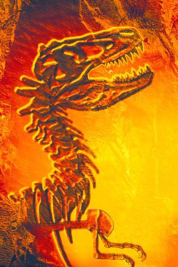 Enhanced Image of a Tyrannosaurus Rex Skeleton-Mehau Kulyk-Photographic Print