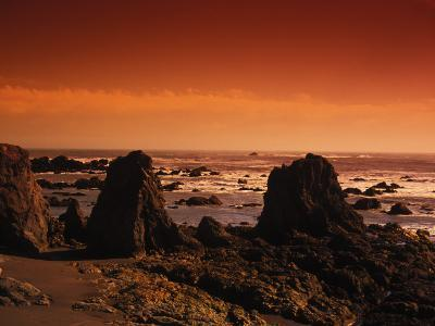 Enhanced Sunset on a Rocky Coast in Ireland-Nick Norman-Photographic Print