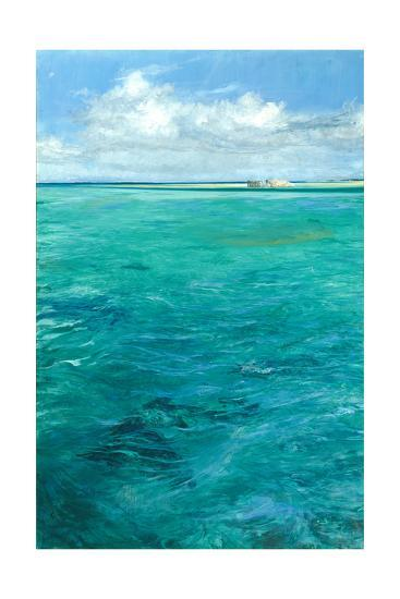 Enigma of the Flats: Bonefish Forage for Crabs with a Tiny Angler, Barely Visible Along the Beach-Stanley Meltzoff-Giclee Print