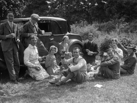 Enjoying a picnic at the MAC Shelsley Walsh Speed Hill Climb, Worcestershire-Bill Brunell-Photographic Print