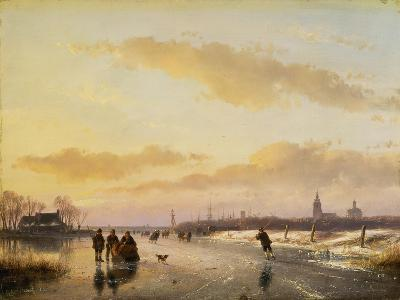 Enjoying the Ice, 1855-Andreas Schelfhout-Giclee Print