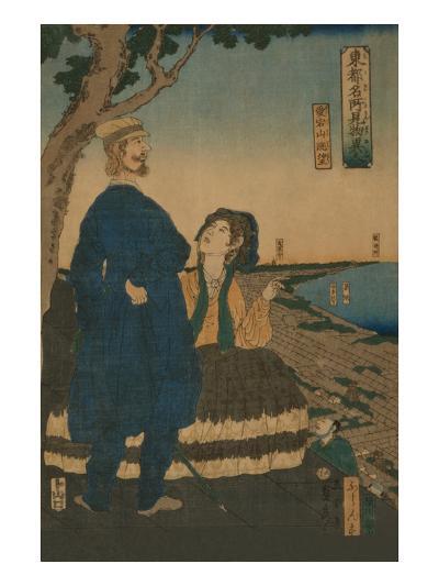 Enjoying the View from Atago Hill (Atago Yama Cho?Bo?)-Sadahide Utagawa-Art Print