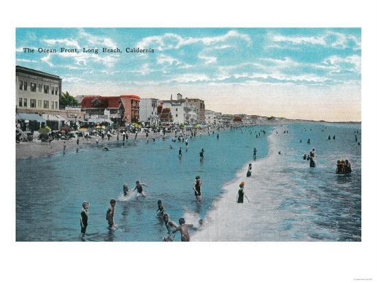 Enjoying Waves at Ocean Beach - Long Beach, CA-Lantern Press-Art Print