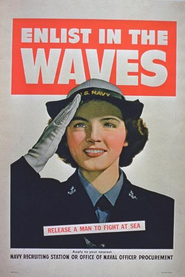 Enlist in the Waves, Release a Man to Fight at Sea', 2nd World War Poster--Giclee Print