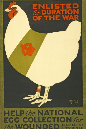 Enlisted for Duration of the War, Pub. London, C.1915--Giclee Print