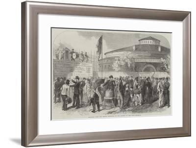 Enlisting Irish and German Emigrants on the Battery at New York--Framed Giclee Print