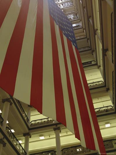 Enormous American Flag Hanging in Marshall Fields Department Store-Paul Damien-Photographic Print