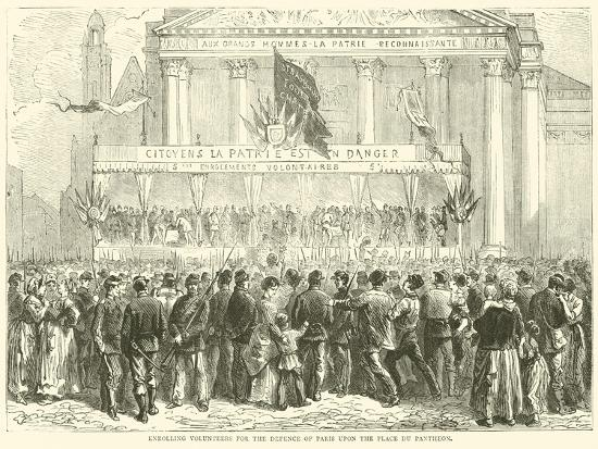 Enrolling Volunteers for the Defence of Paris Upon the Place Du Pantheon, October 1870--Giclee Print