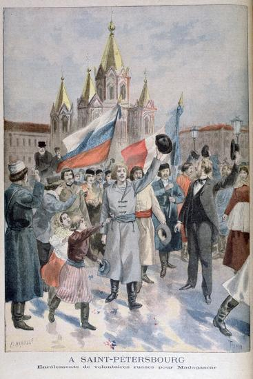 Enrolment of Russian Volunteers for Madagascar, St Petersburg, 1895-F Meaulle-Giclee Print
