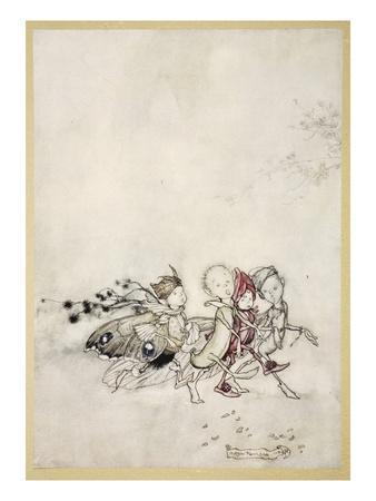 Enter Peasebottom, Cobweb, Moth, and Mustardseed-Arthur Rackham-Premium Giclee Print