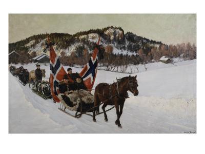 Enterrement d'un marin à la campagne en Norvège-Nils Gustav Wentzel-Giclee Print