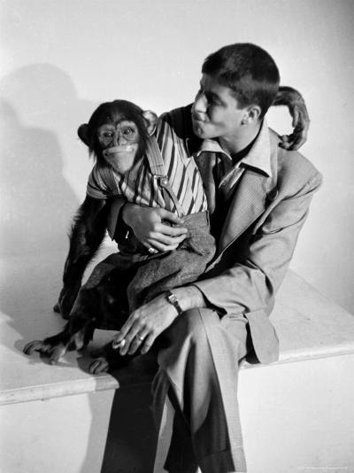 Entertainer Jerry Lewis with a Chimpanzee-Peter Stackpole-Premium Photographic Print