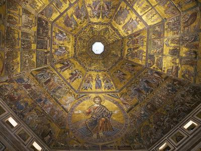 Enthroned Christ, by Coppo Di Marcovaldo, 13th Century Mosaics, Cupola Ceiling, Baptistry, Florence-Peter Barritt-Photographic Print