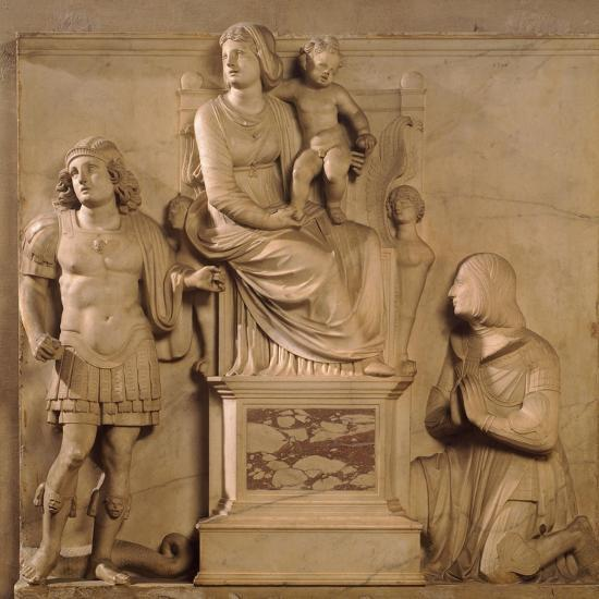 Enthroned Madonna and Child, St George and Figure Praying-Antonio Lombardi-Giclee Print