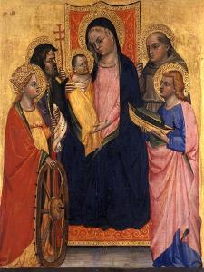 Enthroned Madonna and Child with Four Saints, C.1400