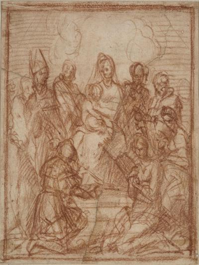 Enthroned Madonna with Child and Eight Saints (Composition Stud), 1528-Andrea del Sarto-Giclee Print