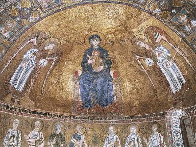 Enthroned Virgin with Archangels and Apostles, Mosaic, Trieste Cathedral--Giclee Print