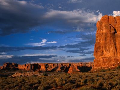 """Entrada"" Sandstone Cliffs and Desert Landscape, Arches National Park, USA-Brent Winebrenner-Photographic Print"