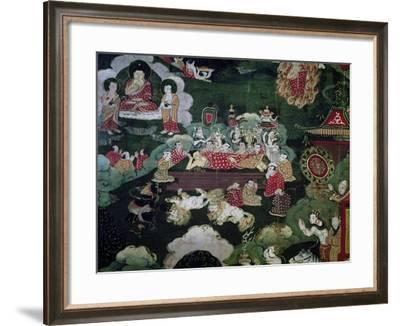 Entrance into Nirvana, Detail from Roll Showing Scenes from Shakyamuni Buddha's Life, Tibet--Framed Giclee Print