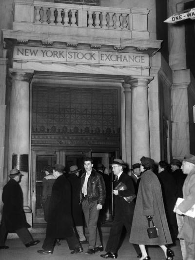 Entrance of the New York Stock Exchange, Jan 21, 1955--Photo