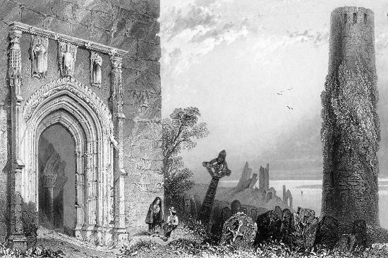 Entrance to a Temple, Clonmacnoise, Ireland, 19th Century-R Brandard-Giclee Print