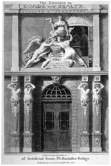 Entrance to Coade and Sealey's Gallery of Coade Stone Sculpture, Lambeth, London, 1802-Samuel Rawle-Giclee Print