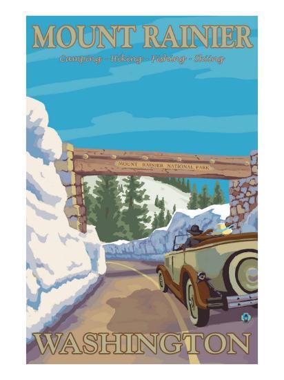 Entrance to Park, Mt. Rainier National Park, Washington-Lantern Press-Art Print