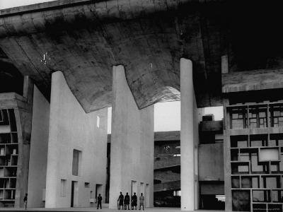 Entrance to Punjab High Court Building, Designed by Le Corbusier, in the New Capital City of Punjab-James Burke-Photographic Print
