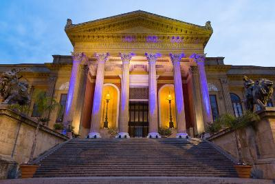 Entrance to Teatro Massimo at Night, One of the Largest Opera Houses in Europe, Palermo-Martin Child-Photographic Print