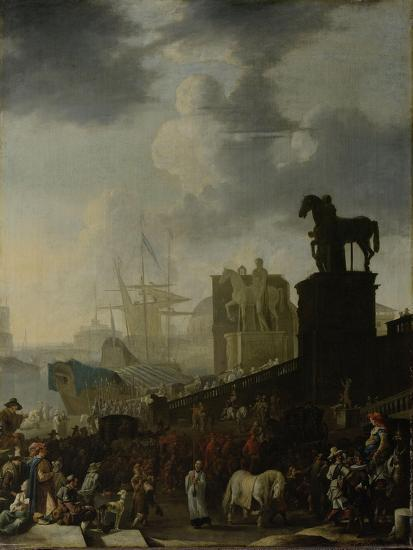 Entrance to the Capitol with the White Horse of the Newly Elected Pope-Johannes Lingelbach-Art Print