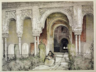"""Entrance to the Hall of the Two Sisters, from """"Sketches and Drawings of the Alhambra,"""" 1835-John Frederick Lewis-Giclee Print"""