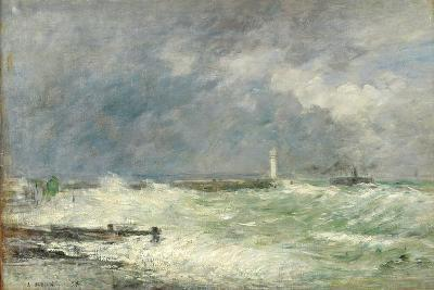 Entrance to the Harbour at Le Havre in Stormy Weather, 1895-Eug?ne Boudin-Giclee Print