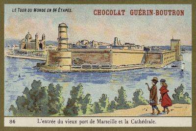 Entrance to the Old Port of Marseilles and the Cathedral--Giclee Print