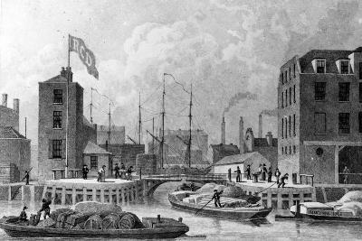 Entrance to the Regent's Canal, Limehouse, Engraved by F. J. Havell, 1828-Thomas Hosmer Shepherd-Giclee Print