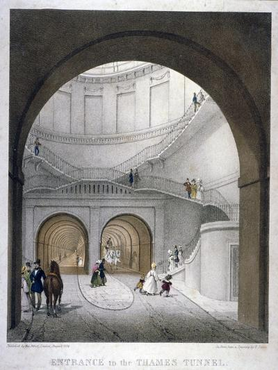 Entrance to the Thames Tunnel at Wapping, London, 1836-B Dixie-Giclee Print