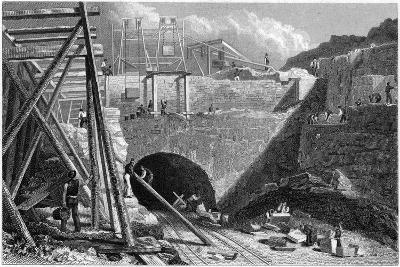 Entrance to the Tunnel of the Liverpool and Manchester Railway, Edge Hill, Liverpool, C1820S-John Davies-Giclee Print