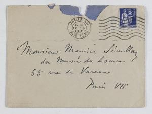 Envelope of Paul's Letter to Maurice Jamot Serullaz