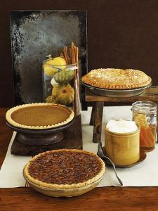 Autumn Pies: Apple/Pear, Pumpkin, and Pecan with Honey and Whipped Cream by Envision