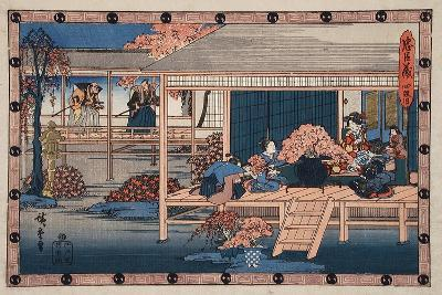 Envoys from Shogun Approach Lady Kaoyo, Enya's Castle, Bringing Sentence of Death to Enya, c.1835-9-Ando or Utagawa Hiroshige-Giclee Print