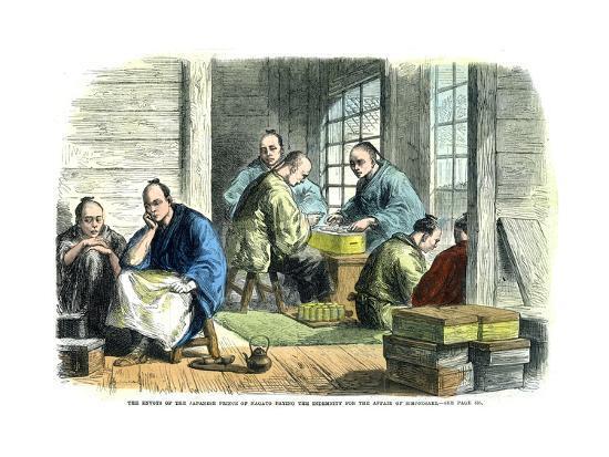 Envoys of the Japanese Prince of Nagato Paying the Indemnity for the Affair of Simonosaki, 1865--Giclee Print