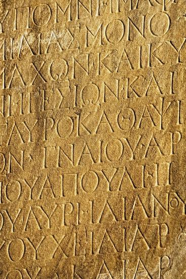 Ephesus, Anatolia, Turkey; Close-Up of Greek Inscription-Design Pics Inc-Photographic Print