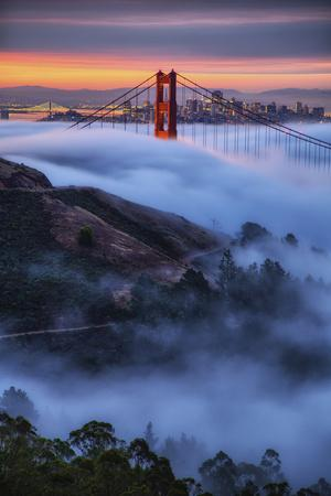 Epic Morning Fog Golden Gate Bridge, San Francisco California Travel-Vincent James-Photographic Print