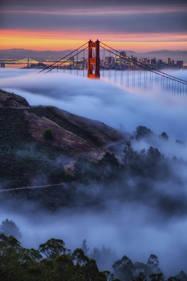 Epic Morning Fog Golden Gate Bridge, San Francisco California Travel-Vincent James-Photographic Print